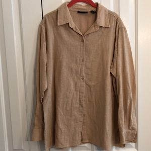 New York and Company size L beige longsleeve shirt